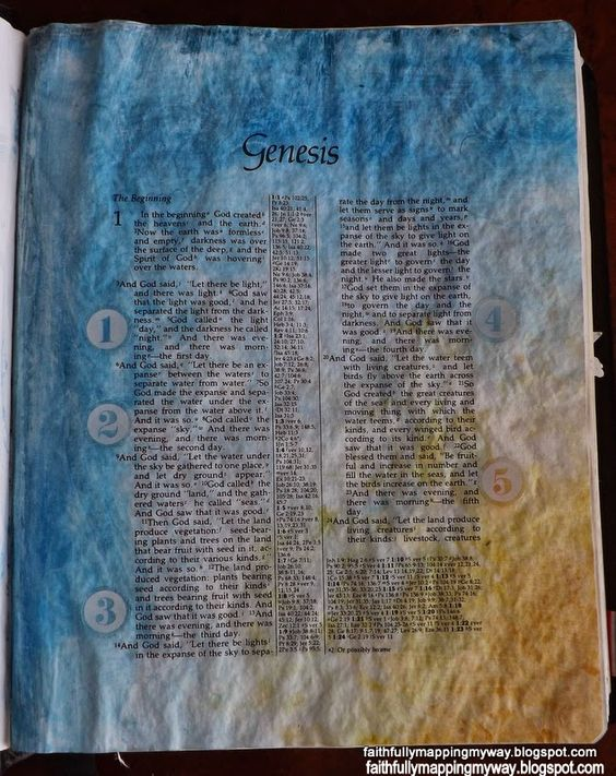 I tried matte decoupage to seal my Bible page for this art journal page in my Bible.  Typically, matte gel medium is suggested, but I threw caution to the wind and was pleasantly surprised.  A less expensive alternative to gelatos as well.
