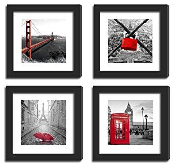 Amazon Com Smartwallstation 4pcs 11x11 Real Glass Wood Frame Black With 2x Mat Fit 8x8 4x4 Inch Family Kid Photo Family Decor Frame Country Picture Frames