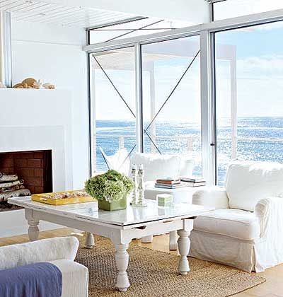 white living room with ocean view: Big Window, Dream View, White Living Rooms, Beach House, Coffee Table, Beach Decor, Blue Living Rooms, Ocean View, Coastal Living Rooms
