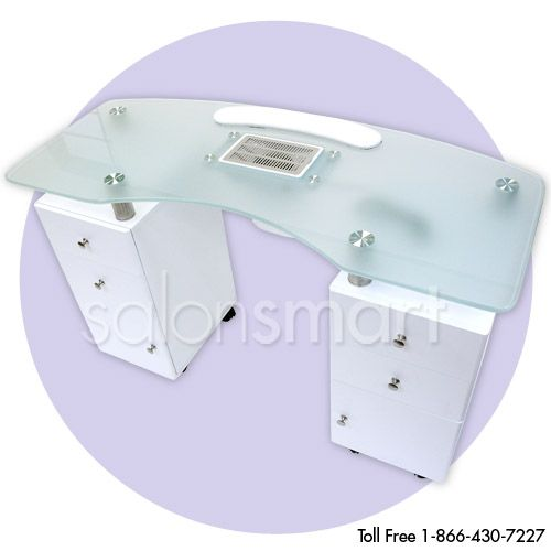 Glass top manicure table with draft vent products for Manicure tables with ventilation