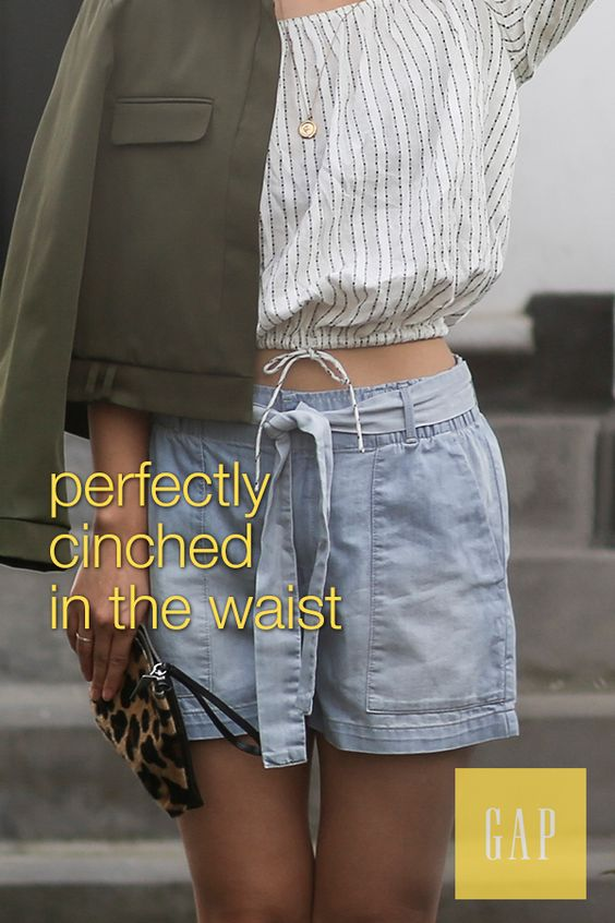 All summer long wear our paperbag-waist denim shorts that cinch perfectly at the waist. Pair them with a simple top and lightweight layer for a chic look like blogger Park & Cube. Shop new summer arrivals from Gap.