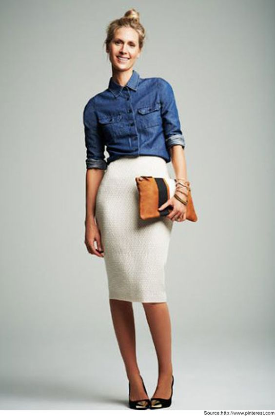 White Pencil Skirt with Denim Shirt. Check more latest collection of Pencil Skirts