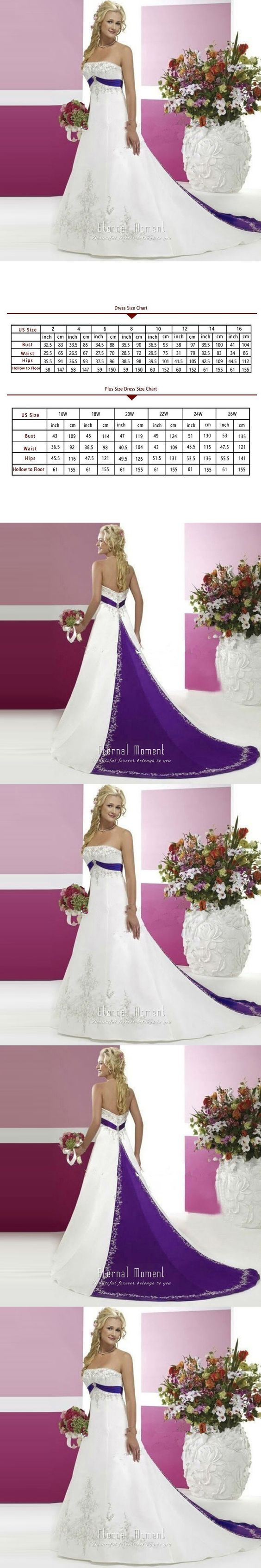 Sexy Strapless White And Purple Beaded Crystal A Line Wedding Dress 2016 trouwjurk robe de mariage $155