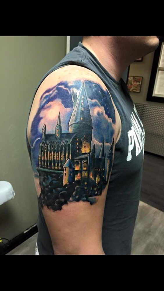 beginning of my harry potter sleeve hogwarts castle tattoo simply amazing amazing body art. Black Bedroom Furniture Sets. Home Design Ideas