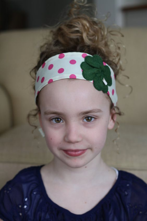 Lucky Pink Polka Dots Headband large clover by letterbdesigns