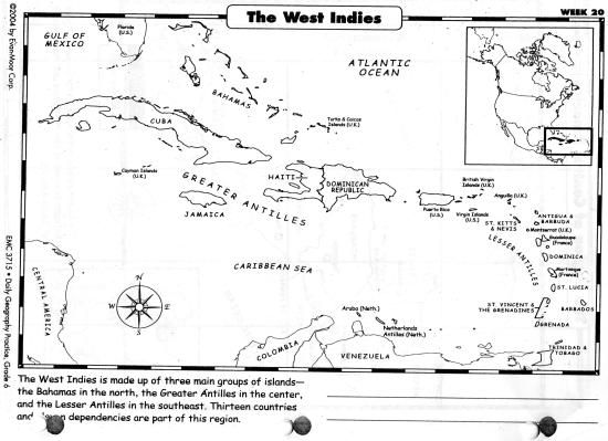 Peaceful image in printable map of the caribbean
