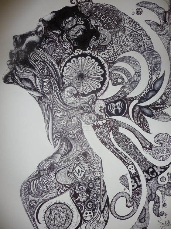 Beautiful kreativ and belle on pinterest for Doodle art faces