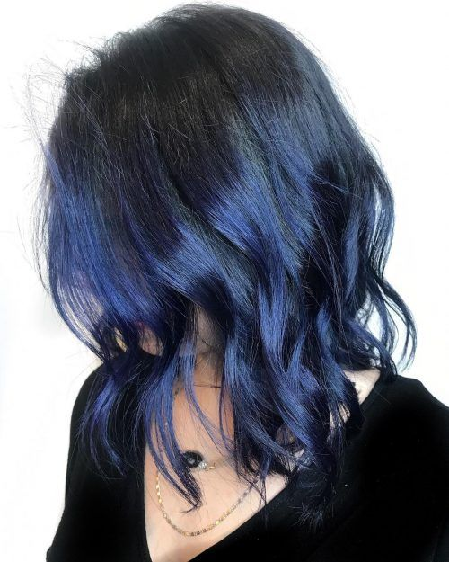 16 Stunning Midnight Blue Hair Colors To See In 2021 Midnight Blue Hair Dyed Hair Blue Blue Hair