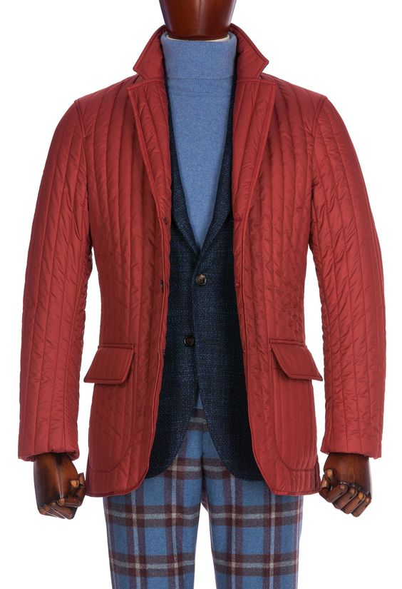 Red Short Quilted Jacket, Technical Fabric