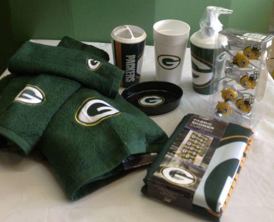 Green Bay Packers Bath 20 Piece Set Soap Shower Curtain Hooks Dish Towel New