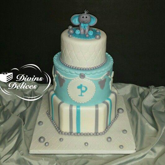baby shower cake baby elephant blue grey and white bb lphant gteau shower de