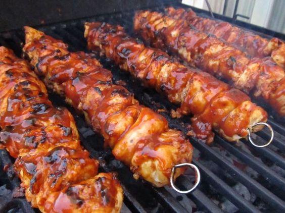 BBQ Chicken BaconSkewers