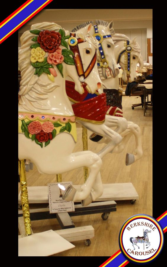Our hand carved wooden horses Belle, Charlie, and Hometown Pride that will be on the carousel. Photo by Katy Levesque 2013.