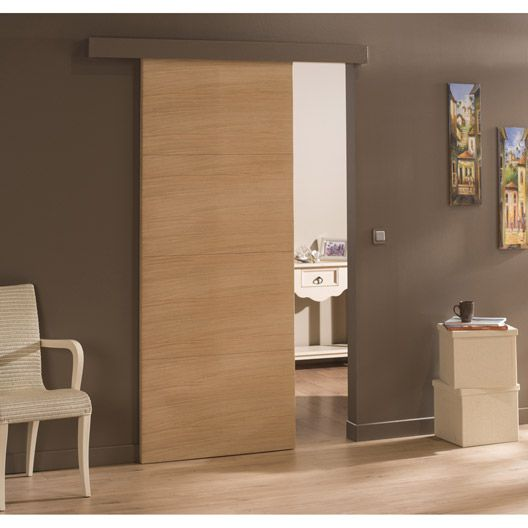 Porte coulissante ch ne plaqu marron madrid 204 x 73 cm for Porte interieur chene massif prix