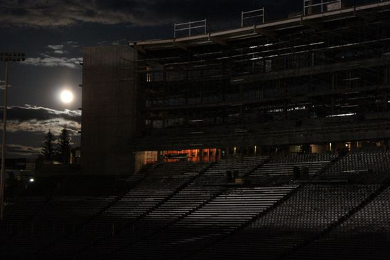 The May 5 Supermoon shines at Martin Stadium on the WSU campus.