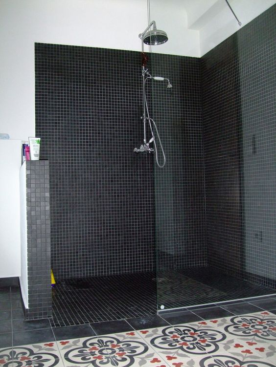 salle de bain carreaux de ciment bathroom pinterest. Black Bedroom Furniture Sets. Home Design Ideas