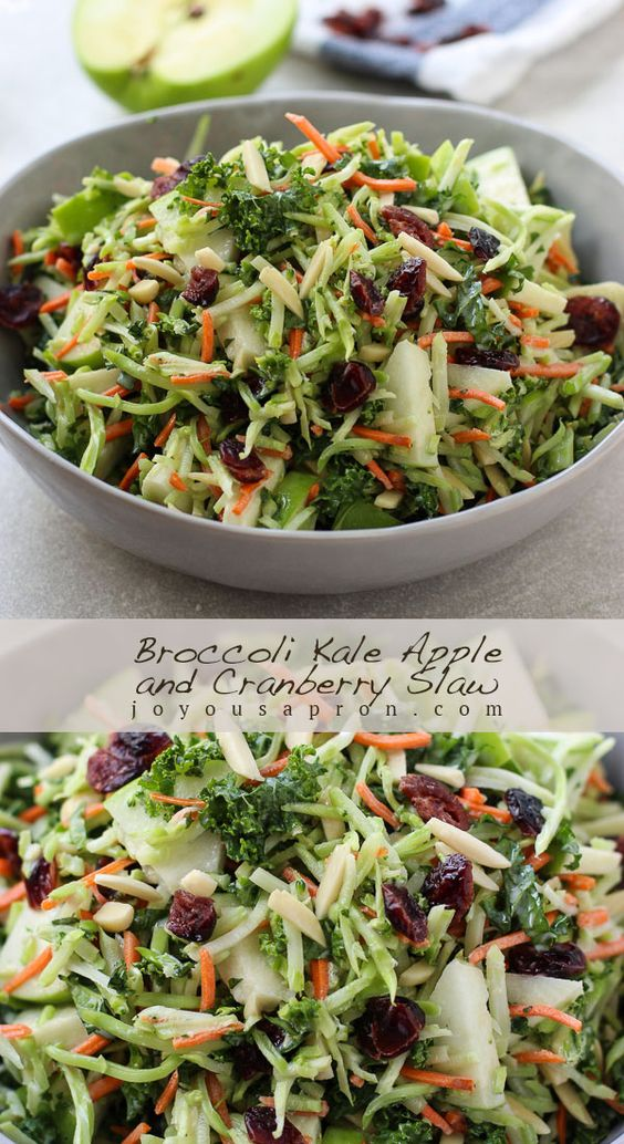 Broccoli Kale Apple and Cranberry Slaw - a yummy no cook side!