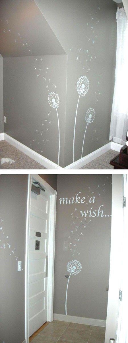 Met een mooie effectverf als basis en daaroverheen een patroon of tekst maak je een heel persoonlijke slaapkamer.
