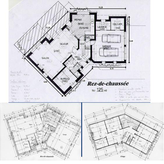 4 chambres 1 tage plans de maison pinterest for Plan maison etage 4 chambres 1 bureau