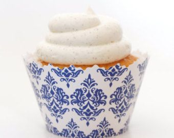 Love the blue and white ;-) Wrappers de cupcake damassé bleu foncé impression réglable Marine - Set de 12 - SW127 Baby Shower idées, gâteaux d'anniversaire, gâteaux d'anniversaire & mariage