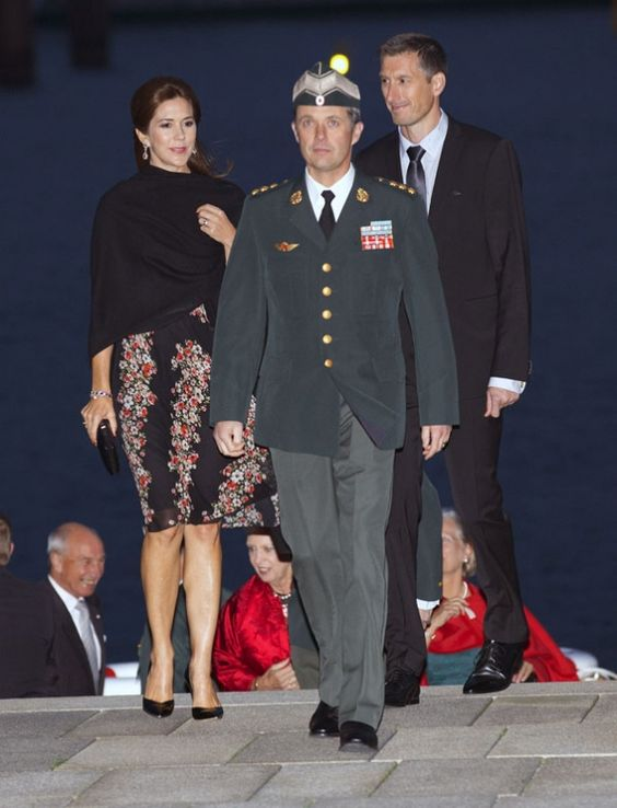 Crown Princess Mary arrives by boat with Crown Prince Frederik at the Army's 400th anniversary held at the Royal Opera House in the centre of Copenhagen.