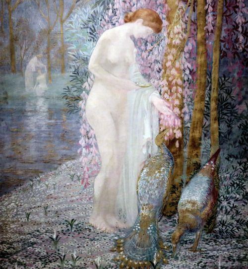 Constant Montald. 1852-1944. La femme au paon. Woman with Peacocks.
