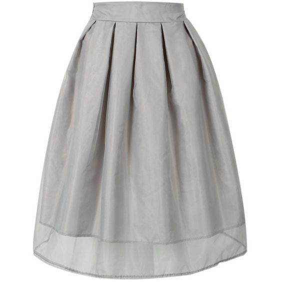 Choies Gray High Waist Sheer Mesh Overlay Skater Skirt (£12 ...