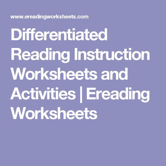 Differentiated Reading Instruction Worksheets and Activities – E Reading Worksheets