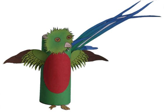 Quetzal Toilet Paper Roll Craft--Aztec and Mayan loved the feathers of this bird and they served as symbols of wealth and status.