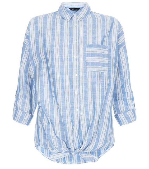 Blue Stripe Single Pocket Tie Front Roll Sleeve Shirt | New Look