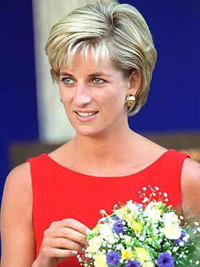 Diana, Princess of Wales wore a red shift dress during a visit to the Northwick Park Hospital in Harrow, London, where she unveiled a foundation stone for the children's casualty department.  July 21, 1997