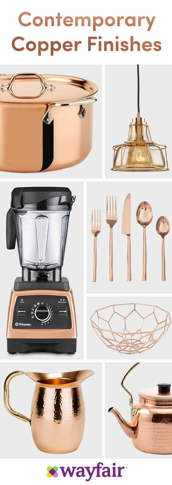 Copper or rose gold accent pieces make for a beautiful and fun