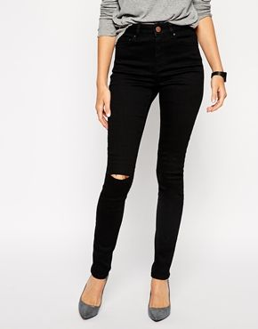 Enlarge ASOS Ridley Skinny Jeans in Clean Black with Ripped Knees ...