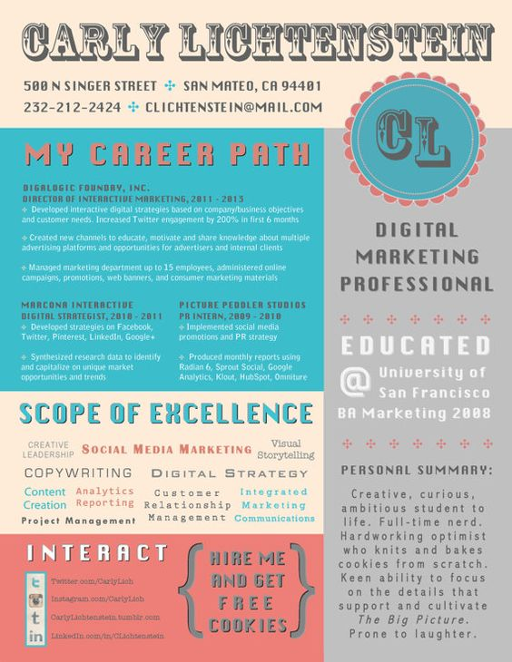Visual Resume Resume! Pinterest Colori, Combinazioni di - digital media director resume