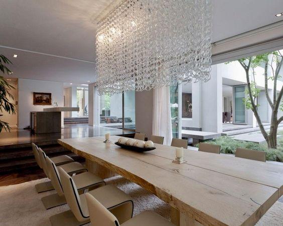 modern mit rustikal farblich abstimmen und kombinieren Esstisch - led beleuchtung bambus arbeitsecke kuche