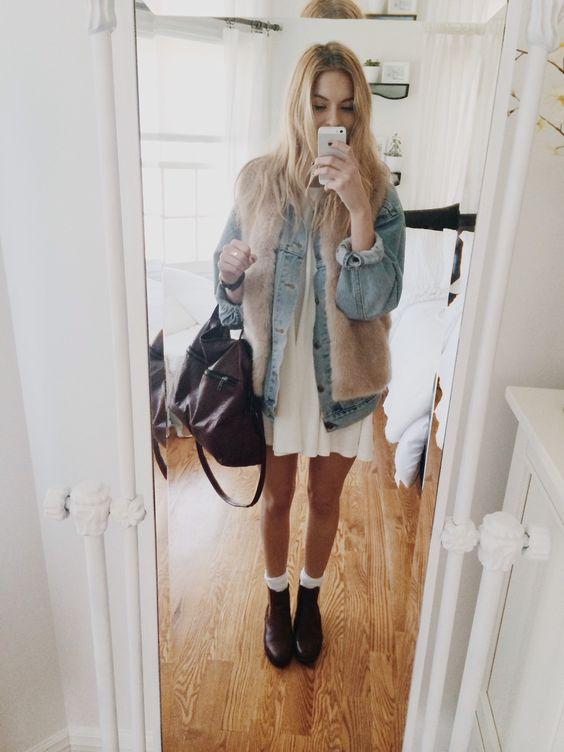 Brandy Melville white 'alena' dress, Brandy jean jacket, Topshop fur vest, Urban brown chelsea boots by bdg. Perfect! Quick & comfy! <3