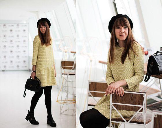 Nastia Poberezhna - Grishko Design Yellow Jacguard Dress, Dresslink Bag - Jacguard Dress
