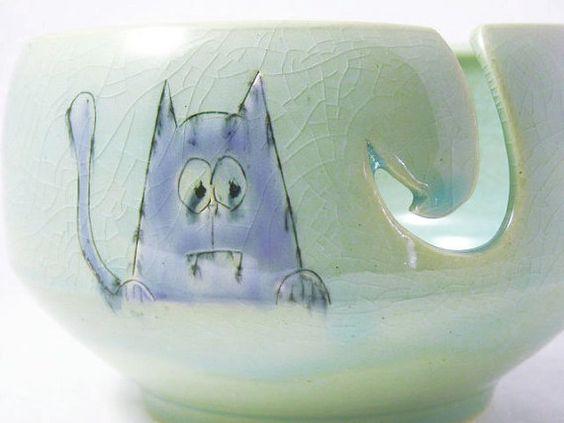Tazón de fuente hilo gato de vampiro por BowlsInc en Etsy