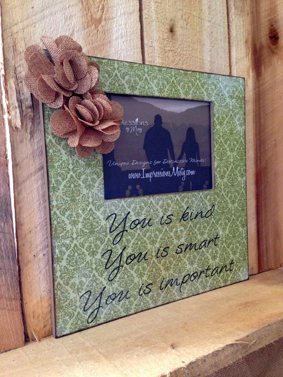 """Green Damask Picture Frame with """"You is Kind"""" quote from 'The Help' -- Burlap flowers by ImpressionsByMisty, $35.00"""