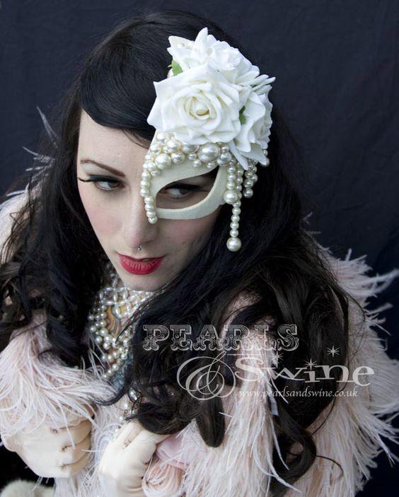 """Lavish Pearl"" Half Mask Fascinator Bespoke Burlesque Ivory Pearl Bridal Accessories by Bridal Headwear, Burlesque Fascinators, Millinery"