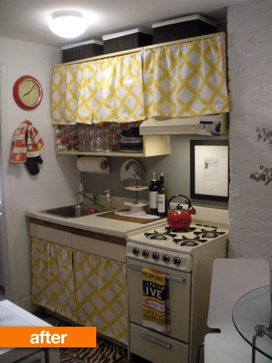Before after rental kitchen gets an adorable update for Apartment kitchen cabinets
