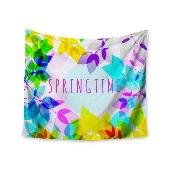 """Sreetama Ray """"Seasons Springtime"""" Rainbow Leaves Wall Tapestry"""