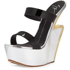 Giuseppe Zanotti Metallic Platform Wedge Sandal