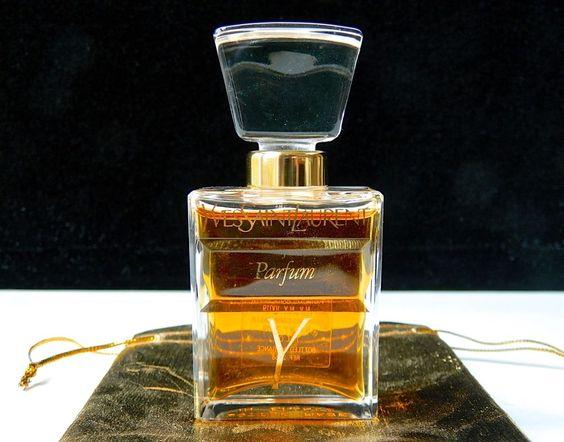 Vintage Y Yves Saint Laurent Pure Perfume YSL 1 oz Crystal Stopper Gift Bag #YvesSaintLaurent
