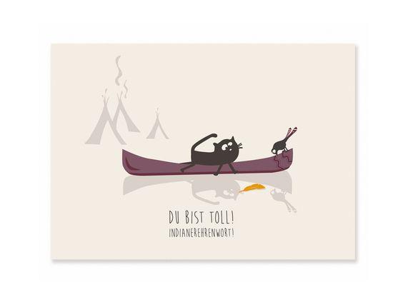 Postkarte Du bist toll! Indianerehrenwort! // cats on appletrees auf DaWanda.com