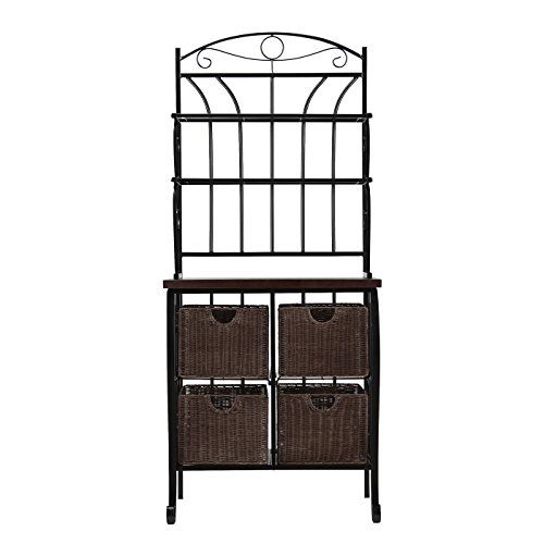 Jolie Storage Bakers Rack With 4 Baskets 2 Shelves And Broad
