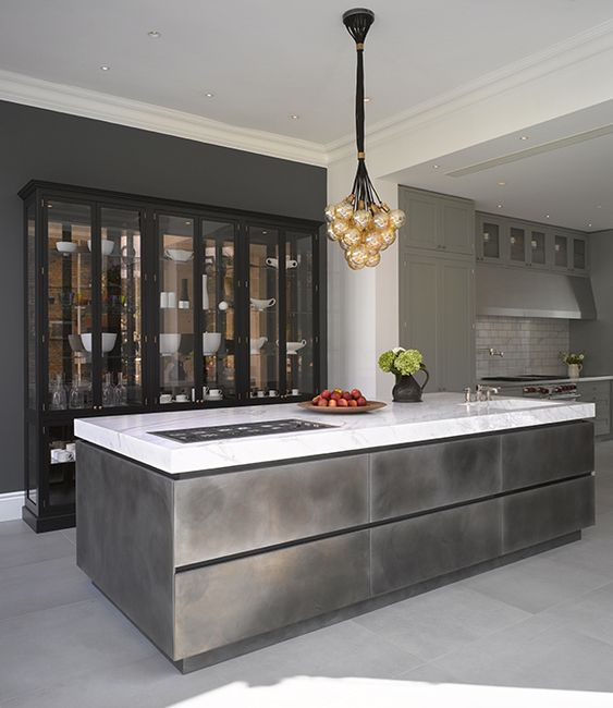 Roundhouse Urbo bespoke patinated silver island with Nightingale cabinet