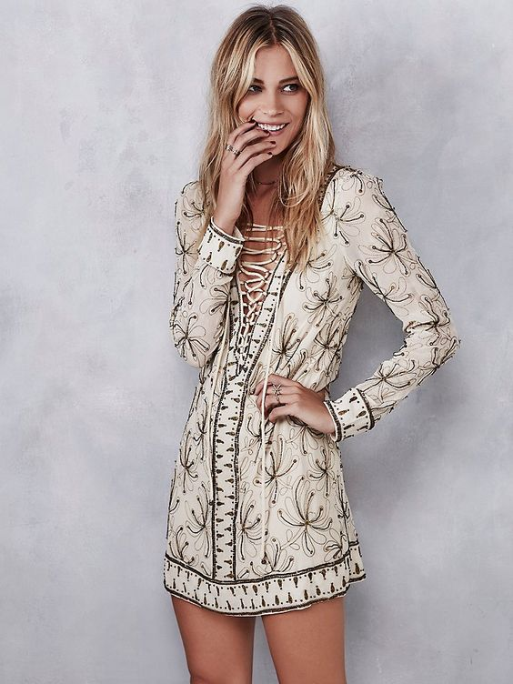 350 Free People Sicily Beaded Mini at Free People Clothing Boutique