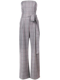 plaid strapless tailored jumpsuit
