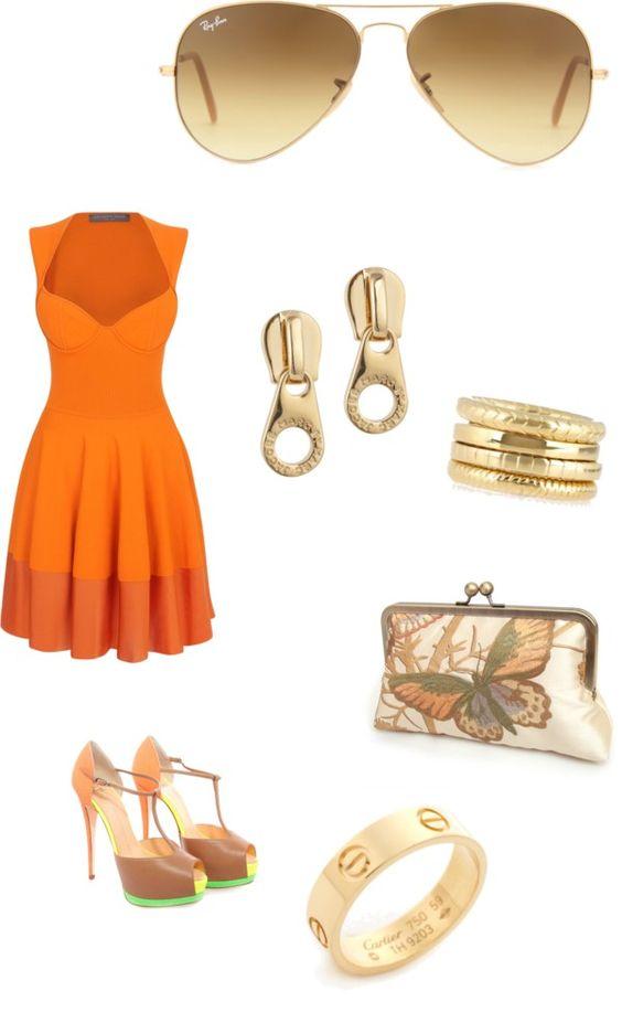 """Orange you happy it's finally springtime?"" by karaallan on Polyvore"
